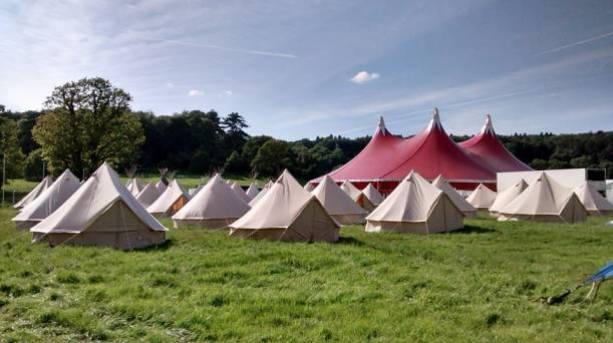 Ready-pitched bell tents at Let's Rock Bristol, Ashton Court