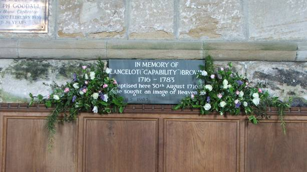 Capability Brown plaque in Kirkharle