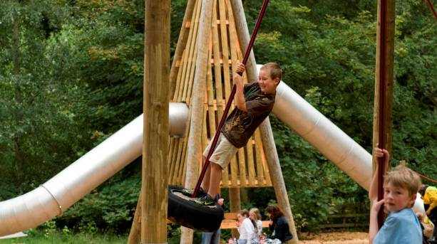 Children playing at the adventure playground at Castle Howard
