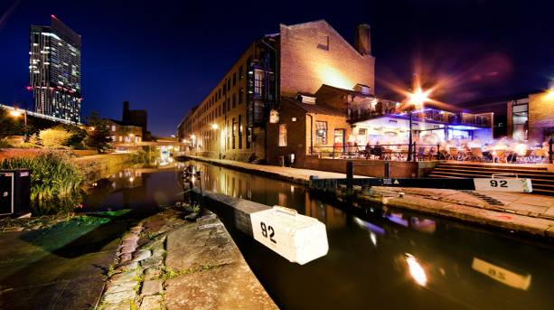 Nighttime view of Castlefield