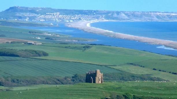 St Catherine's Chapel overlooking Chesil Beach in Abbotsbury, Dorset