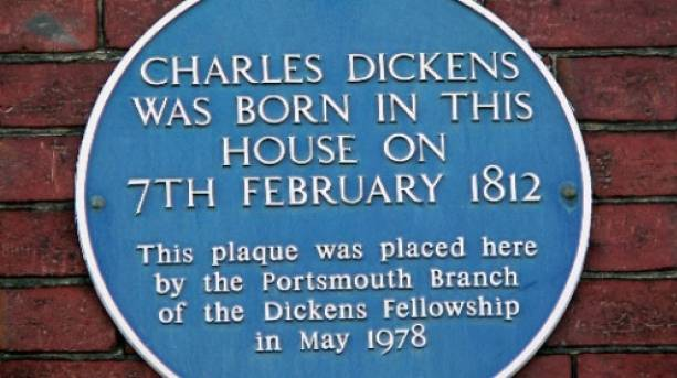 Charles Dickens Blue Plaque outside his childhood home