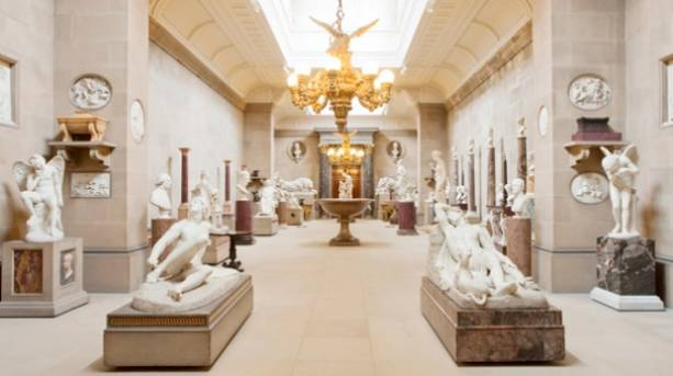 The sculpture gallery at Chatsworth House