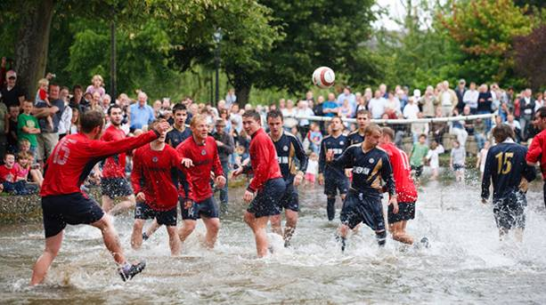 Bourton on the Water Football in the River