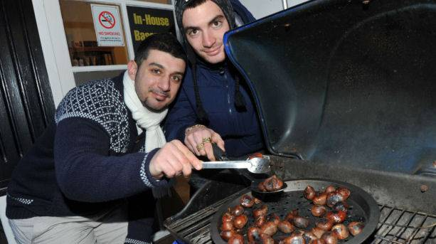 Roasted chestnuts at Christmas shopping events in Eastbourne
