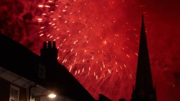 Fireworks over Chichester Cathedral