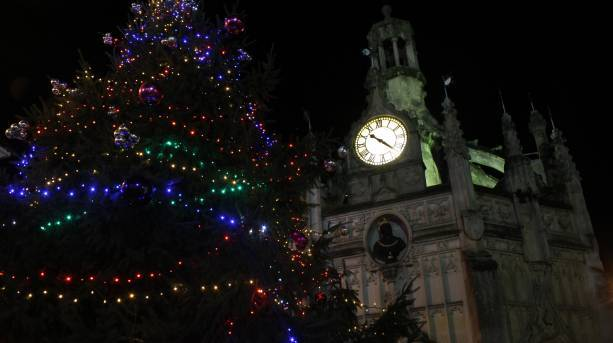Chichester's Christmas tree at the Market Cross