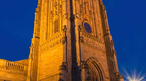 Floodlit Derby Cathedral tower