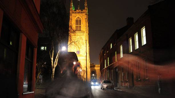 Derby ghost walk with Derby Cathedral in the background