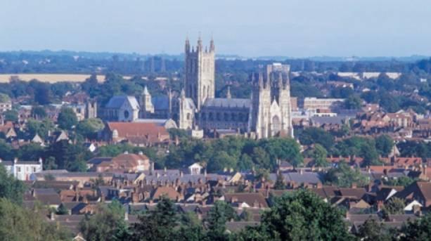 An ariel shot of Canterbury in Kent