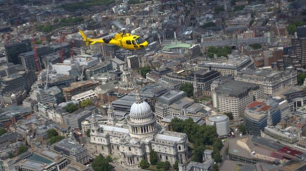 A Helicopter flying over St Pauls