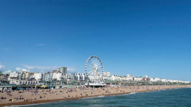 Photo of Brighton's beachfront inclduing the Brighton Wheel