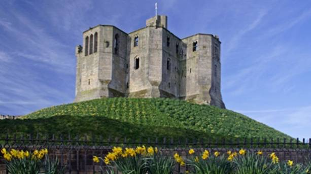 Warkworth Castle keep in the spring