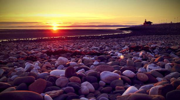 Sunset over Morecombe Bay beach