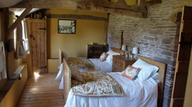 A bedroom at Cothill Barn, Herefordshire