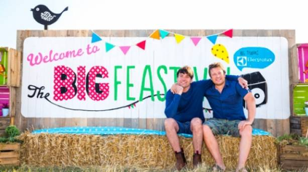 Jamie Oliver and Alex James at The Big Feastival