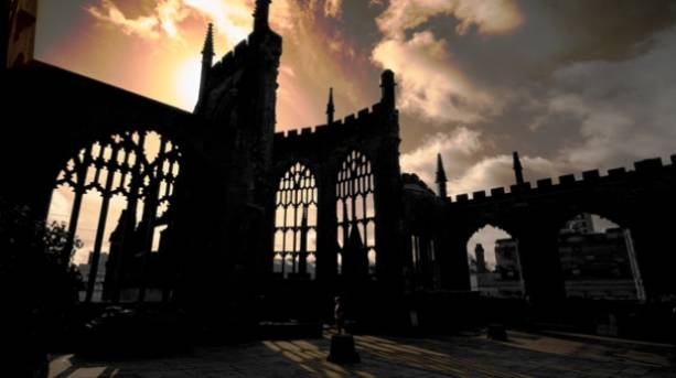 Coventry Cathedral Ruins at sunset