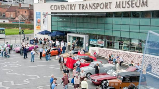 Visitors outside the Coventry Transport Museum