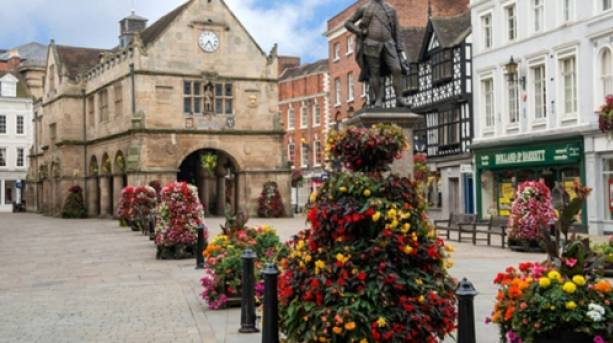 The Square and Old Market Hall Shrewsbury