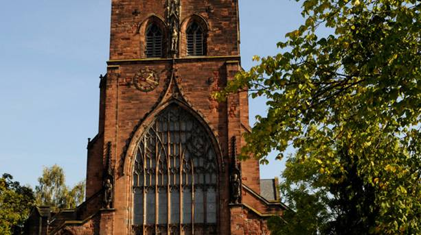 Front view of Shrewsbury Abbey in Shropshire