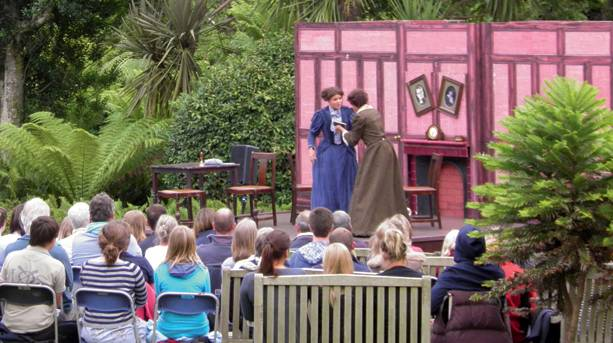 Open air theatre performance in the Chaplaincy Gardens, St Mary's, Isles of Scilly
