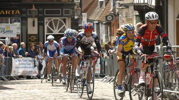 Cyclists racing through Castle Square
