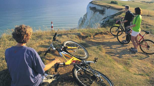 Cycle along the marathon route and discover the UK's highest chalk sea cliff