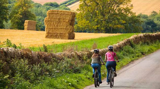 Two people cycling in the Cotswolds