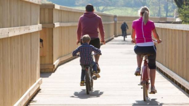 Cycling on Clyst Bridge