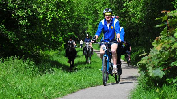 Cyclists and horse riders