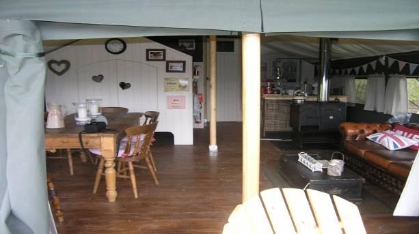 Inside Canvas cottage, Dandelion Hideaway