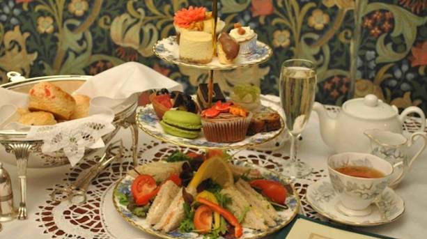 Afternoon tea, sandwiches and cakes
