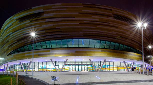 Derby Arena showing the Gold, Silver and Bronze medal colours