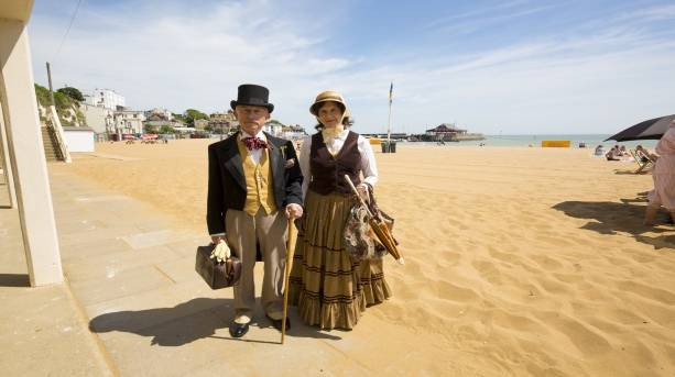 Dickensian couple at Viking Bay Broadstairs