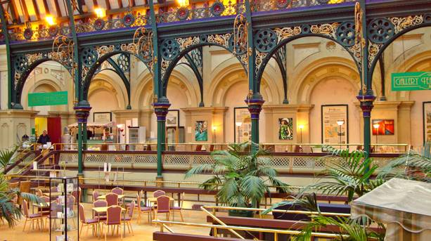 The ornate interior of the Corn Exchange where Elgar performed in 1909