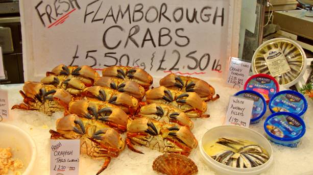 A dazzling display of fish and sea food at the Fish Market