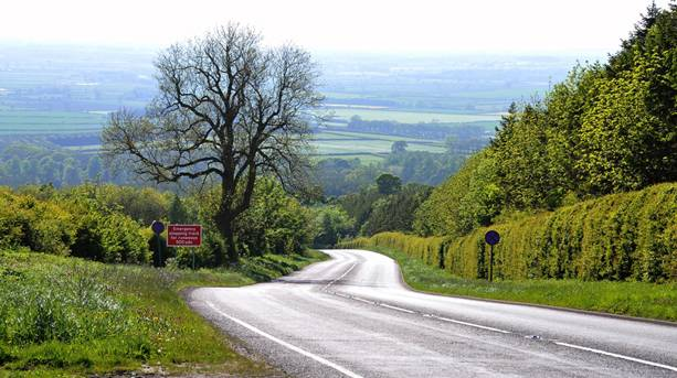 Winding country road in the Yorkshire Wolds