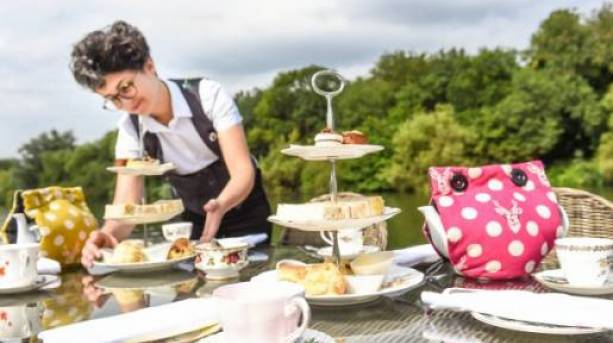 Afternoon tea on the riverbank at Oakley Court