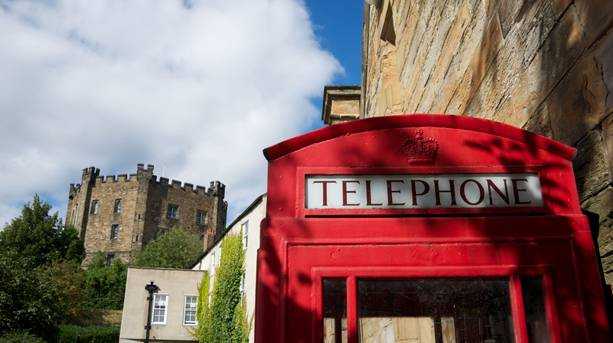 Red telephone box outside Durham Castle