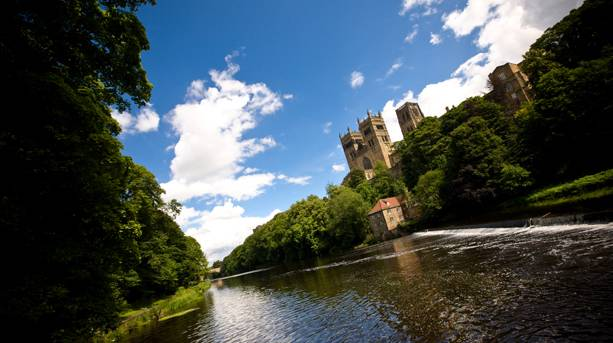 View of Durham Cathedral from the riverbanks
