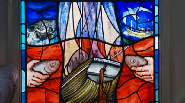Enterprise stained glass window at Fishermen's Museum