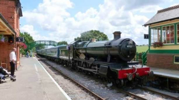 """""""Pitchford Hall"""" pulls into North Weald with a train from Ongar."""