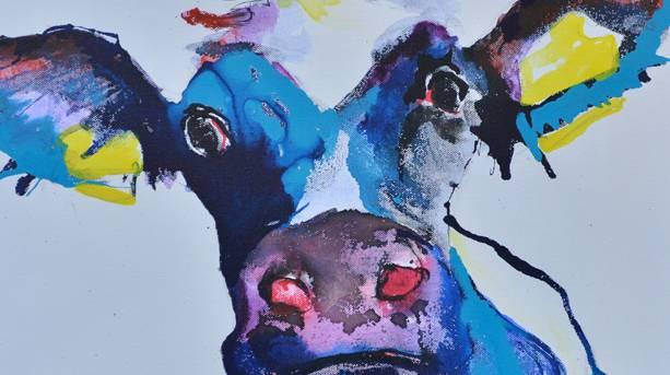 Holmfirth Art Week cow acrylic