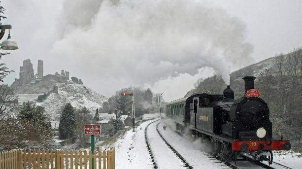 Swanage Railway and Corfe Castle in the snow.