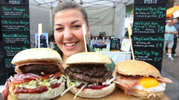 Three burgers presented by an Exeter Marketer