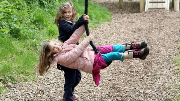 Children playing in the adventure park