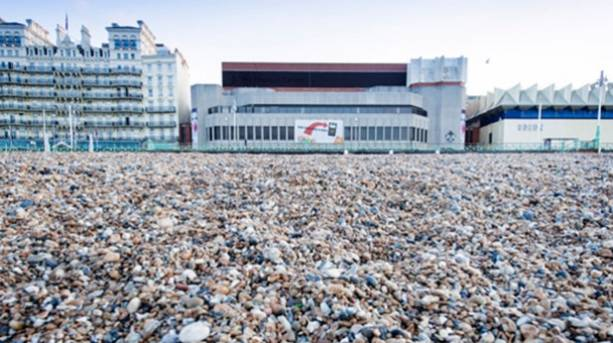 Photo of the Brighton Centre taken from the beach
