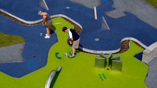 The mini-golf course at Leaplish Waterside Park is designed from old and new maps of Kielder Water & Forest Park