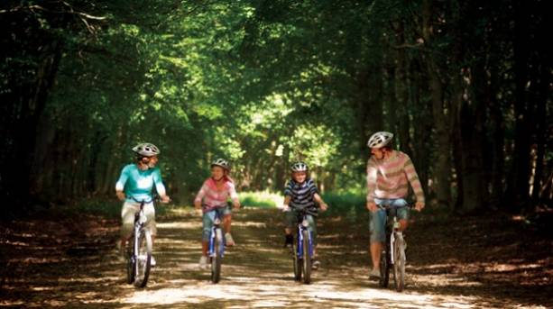 A family cycling through Sherwood Forest