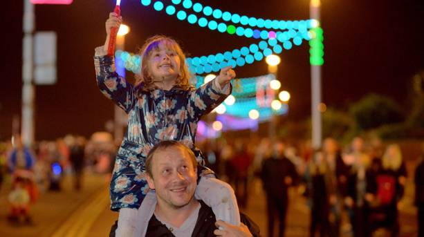 Father and daughter at Sunderland Illuminations
